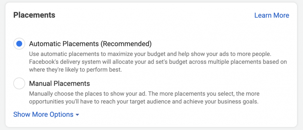 Ad placements facebook target audience example