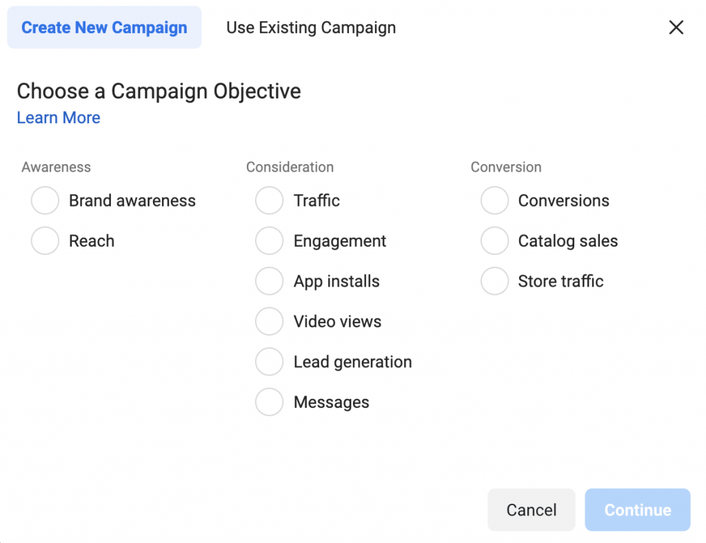 Facebook ad types campaign objectives