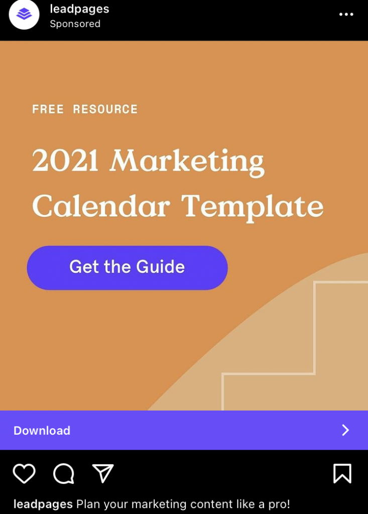 instagram ad example leadpages k6